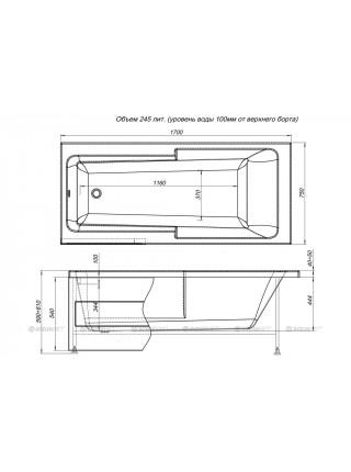 Ванна акриловая Акванет/Aquanet Taurus 170x75 00210289