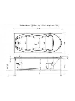 Ванна акриловая Акванет/Aquanet Tessa 170x70 00204045