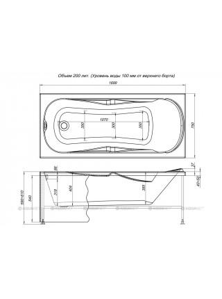 Ванна акриловая Акванет/Aquanet Rosa 170x75 00204032