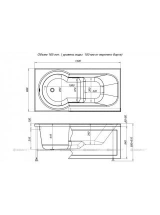 Ванна акриловая Акванет/Aquanet Largo 140x70 00203994