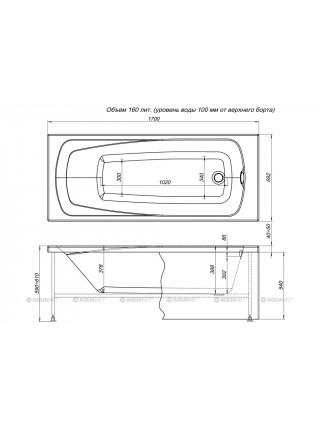Ванна акриловая Акванет/Aquanet Roma 170x70 00204028