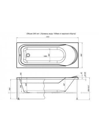 Ванна акриловая Акванет/Aquanet West 170x70 00204055