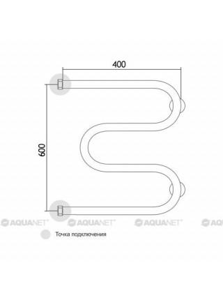 Полотенцесушитель водяной Акванет/Aquanet M-3/4 600x400 185070 (хром глянец)