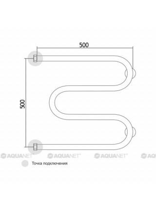 Полотенцесушитель водяной Акванет/Aquanet M-1 500x500 185066 (хром глянец)