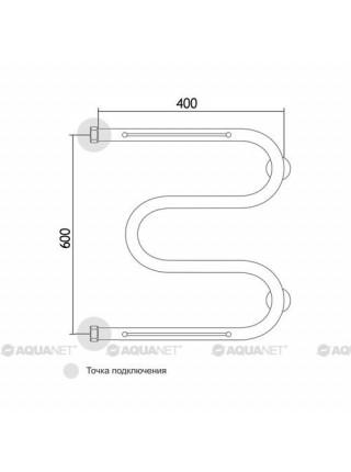 Полотенцесушитель водяной Акванет/Aquanet M-3/4 600x400 185067 (хром глянец, 2 полочки)