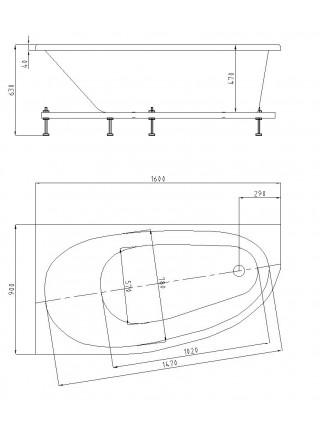 Ванна акриловая Акватек/Aquatek Дива 160 DIV160-0000001 160х90 см. (левая)