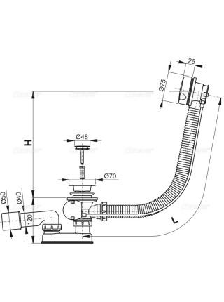 Слив-перелив для ванной AlcaPlast A51B-80 (полуавтомат, внешние части пластик, белый)