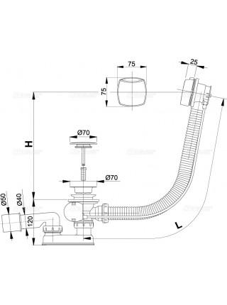 Слив-перелив для ванной AlcaPlast A51СRM-80 (полуавтомат, внешние части пластик, удлиненный, хром глянец)