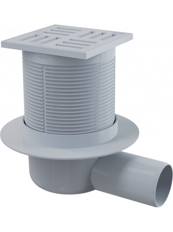Трап для душа AlcaPlast APV5111 105х105 мм. (решетка пластиковая, серая, мокрый гидрозатвор)