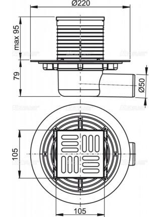Трап для душа AlcaPlast APV101 105x105 мм. (решетка нержавеющая сталь, хром глянец, мокрый гидрозатвор)