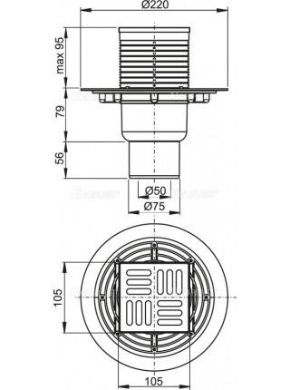 Трап для душа AlcaPlast APV2321 105x105 мм. (вертикальный, решетка нержавеющая сталь, хром глянец, комбинированный гидрозатвор)