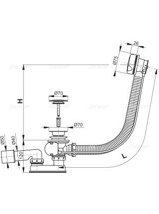 Слив-перелив для ванной AlcaPlast A51BM-80 (полуавтомат, внешние части пластик, удлиненныё, белый)