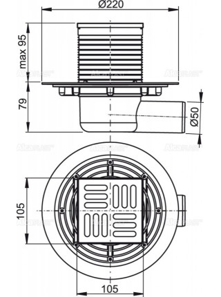 Трап для душа AlcaPlast APV1321 105x105 мм. (решетка нержавеющая сталь, хром глянец, комбинированный гидрозатвор)