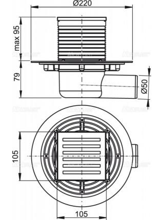 Трап для душа AlcaPlast APV103 105x105 мм. (решетка нержавеющая сталь, хром глянец, мокрый гидрозатвор)