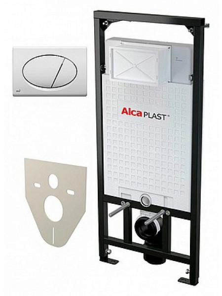 Инсталляция для подвесного унитаза AlcaPlast Sadromodul 4 in 1 AM101/1120+M70+M91 (клавиша белая)