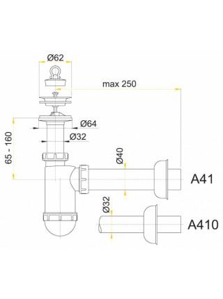 Сифон для раковины AlcaPlast A41+A71 Flexi (белый, c гибким отводом)