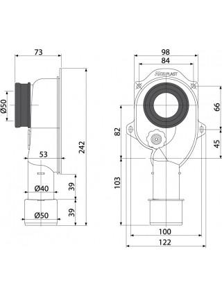 Сифон для писсуара AlcaPlast A45C (вертикальный, белый, скрытого монтажа)