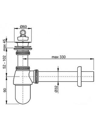 Сифон для раковины AlcaPlast A437 DN32 (хром глянец)