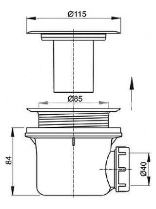 Сифон для душевого поддона AlcaPlast A48 Ø90 мм (внешние части металл, хром глянец)