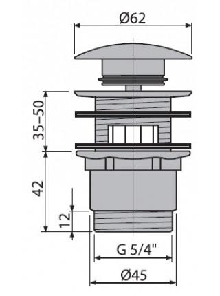 Донный клапан AlcaPlast A390 (хром глянец, click-clack)
