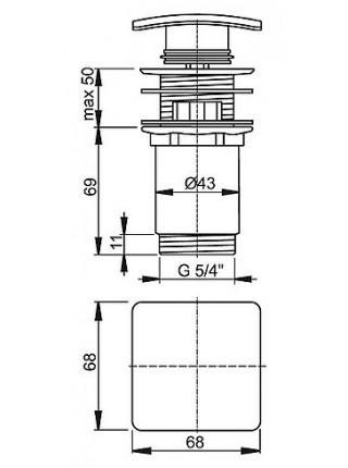 Донный клапан AlcaPlast A393 (хром глянец, click-clack)