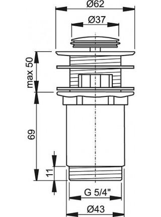 Донный клапан AlcaPlast A391 (хром глянец, click-clack)