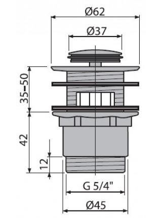 Донный клапан AlcaPlast A39 (хром глянец, click-clack)