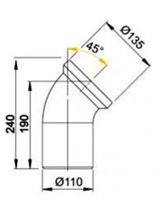 Фановый отвод для унитаза AlcaPlast A90-45 45° (белый)
