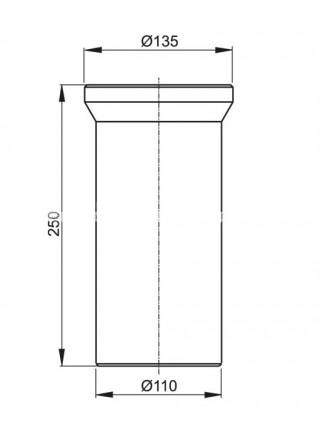 Фановый отвод для унитаза AlcaPlast A91-250 250 мм. (белый)