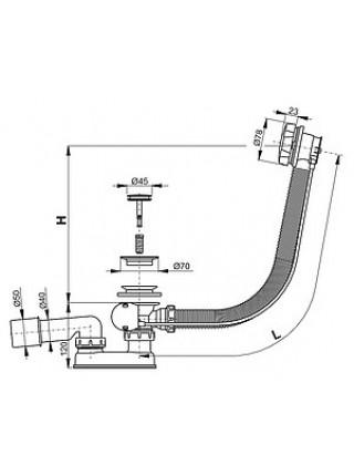 Слив-перелив для ванной AlcaPlast A55K (полуавтомат, внешние части металл, хром глянец)