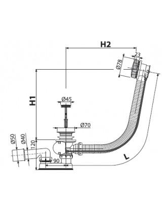 Слив-перелив для ванной AlcaPlast A55K-80 (полуавтомат, внешние части металл, удлиненный, хром глянец)