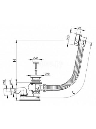 Слив-перелив для ванной AlcaPlast A51СR-80 (полуавтомат, внешние части пластик, удлиненный)