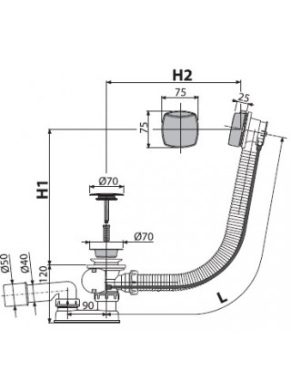 Слив-перелив для ванной AlcaPlast A51СRM (полуавтомат, внешние части пластик, хром глянец)