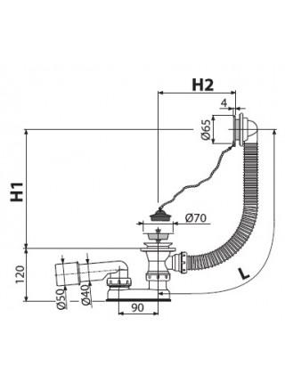 Слив-перелив для ванны AlcaPlast A501 (цепочка, пробка, внешние части пластик, хром глянец)