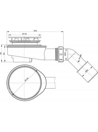 Сифон для душевого поддона AlcaPlast A491CR Ø90 мм (внешние части пластик, хром глянец)