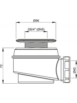 Сифон для душевого поддона AlcaPlast A47CR-50 Ø50 мм (внешние части металл, хром глянец)