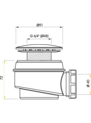 Сифон для душевого поддона AlcaPlast A47CR-60 Ø60 мм (внешние части металл, хром глянец)