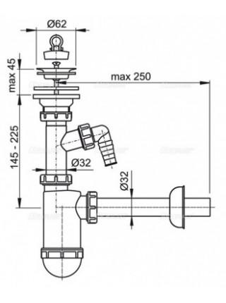 Сифон для раковины с отводом AlcaPlast A410P DN32 (белый)