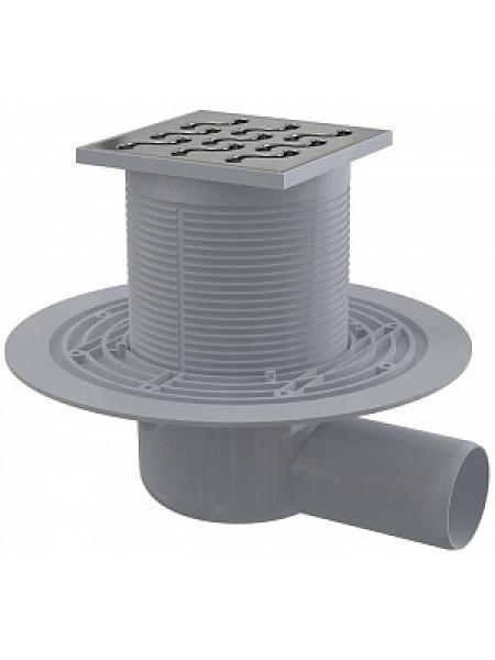 Трап для душа AlcaPlast APV102 105x105 мм. (решетка нержавеющая сталь, хром глянец, мокрый гидрозатвор)