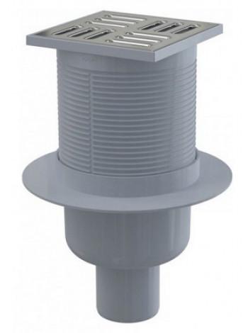 Трап для душа AlcaPlast APV32 105x105 мм. (вертикальный, решетка нержавеющая сталь, хром глянец, комбинированный гидрозатвор Smart)
