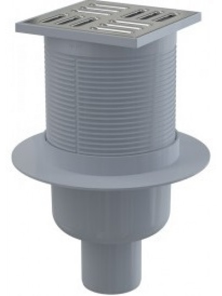 Трап для душа AlcaPlast APV2 105x105 мм. (вертикальный, решетка нержавеющая сталь, хром глянец, мокрый гидрозатвор)