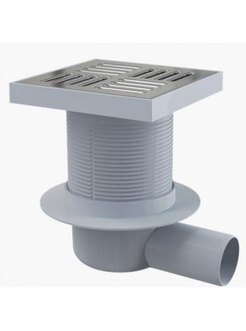 Трап для душа AlcaPlast APV5411 150х150 мм. (решетка нержавеющая сталь, хром глянец, мокрый гидрозатвор)