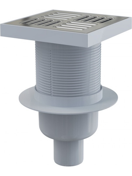 Трап для душа AlcaPlast APV6411 150х150 мм. (вертикальный, решетка нержавеющая сталь, хром глянец, мокрый гидрозатвор)