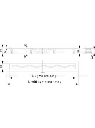 Душевой лоток AlcaPlast APZ9-550M 55 см. (нержавеющая сталь)