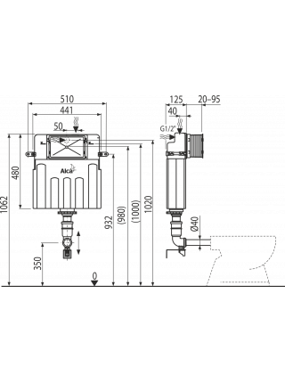 Смывной бачок скрытого монтажа AlcaPlast AM112 Basicmodul