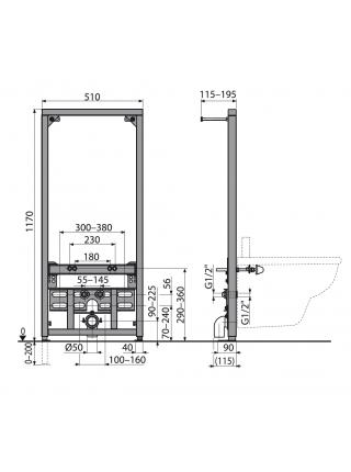Инсталляция для подвесного биде AlcaPlast A105/1200