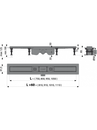 Душевой лоток AlcaPlast APZ12-850 Optimal 85 см. (без решетки)