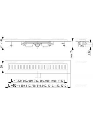 Душевой лоток AlcaPlast APZ101-300 Low 30 см. (плоский, с гидрозатвором и опорами, без решетки)