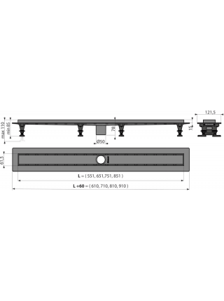 Душевой лоток AlcaPlast APZ2012-850 Optimal 85 см. (c опорами, без решетки и без сифона)