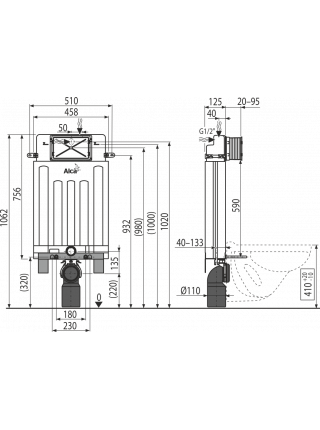 Смывной бачок скрытого монтажа AlcaPlast AM100/1000E Alcamodul